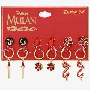 Disney 6x Mulan Stud and Hoop Earrings Set